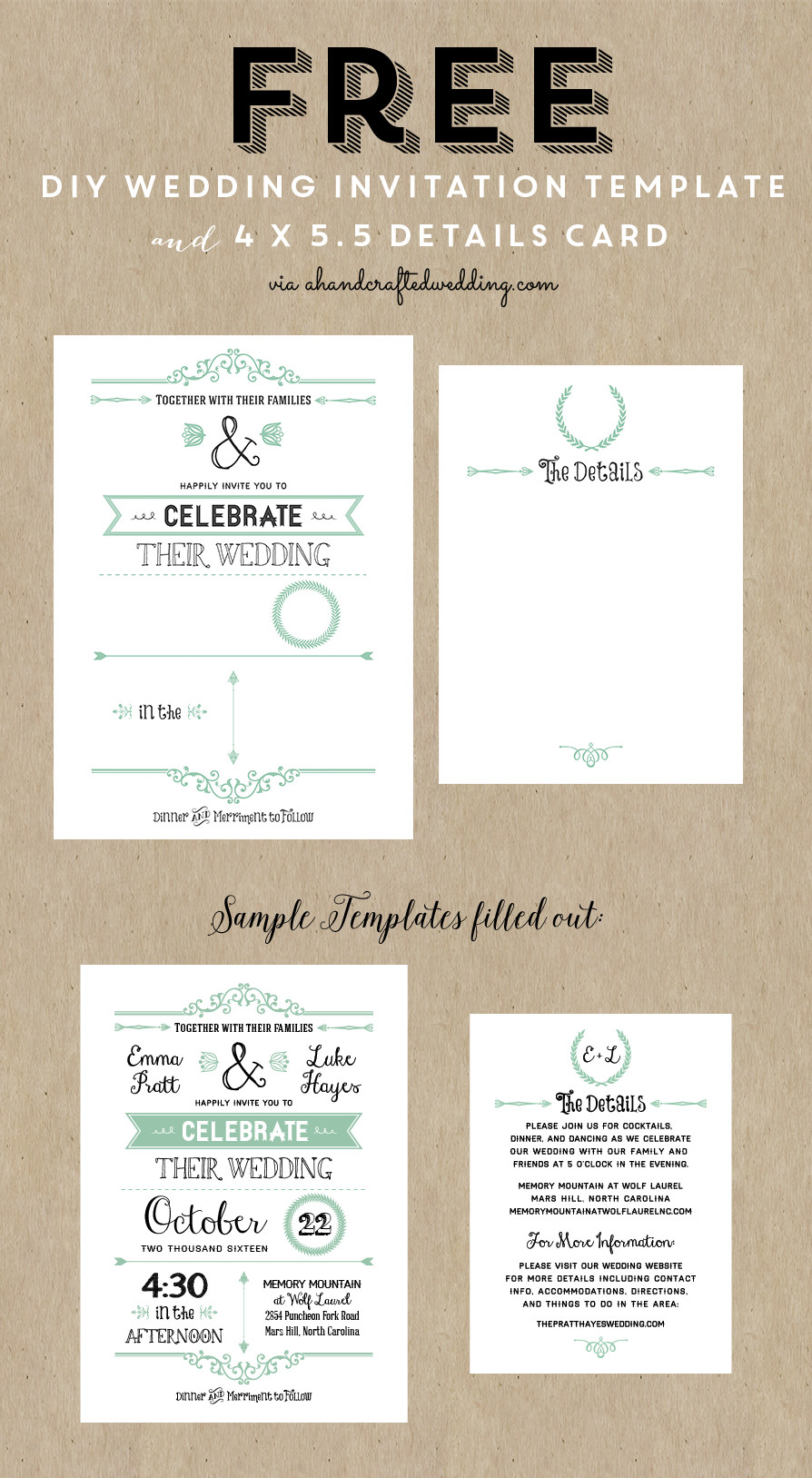 Best ideas about DIY Wedding Invite Templates . Save or Pin Best 25 Free wedding invitation templates ideas on Now.