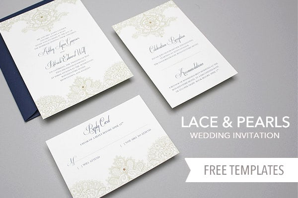 Best ideas about DIY Wedding Invite Templates . Save or Pin Free Template Lace & Pearls Wedding Invitation Set Yes Now.