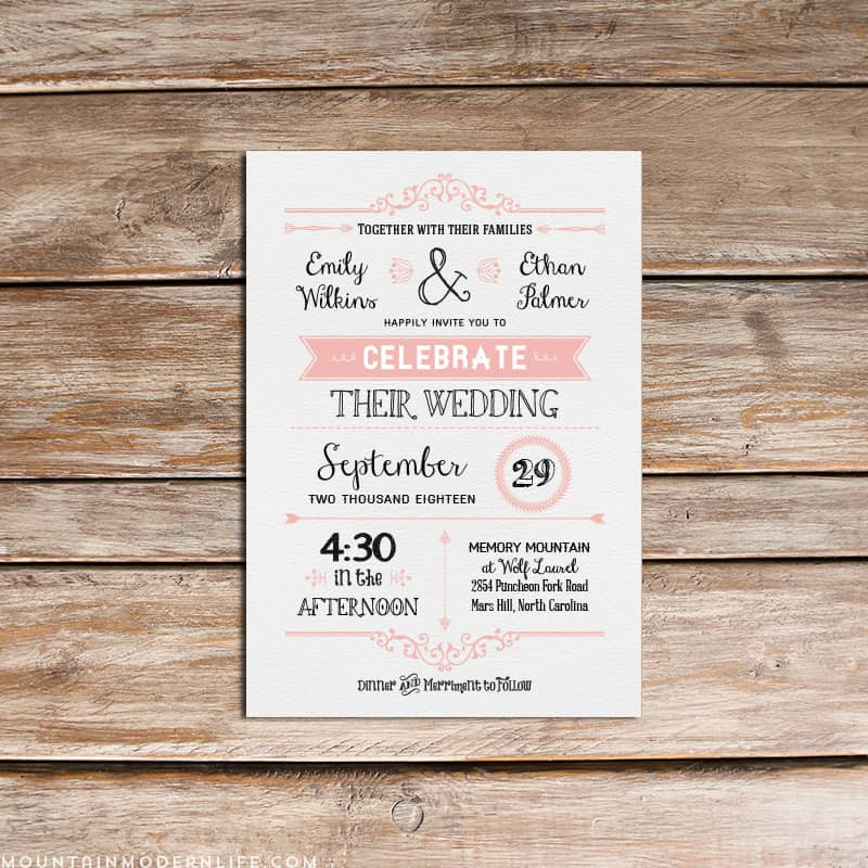 Best ideas about DIY Wedding Invite Templates . Save or Pin Vintage Rustic DIY Wedding Invitation Template Now.