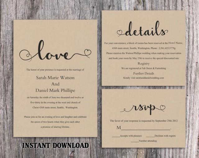Best ideas about DIY Wedding Invite Templates . Save or Pin DIY Burlap Wedding Invitation Template Set Editable Word Now.