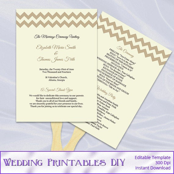 Best ideas about DIY Wedding Program Fan Template . Save or Pin Items similar to Rustic Wedding Program Fans Template Diy Now.