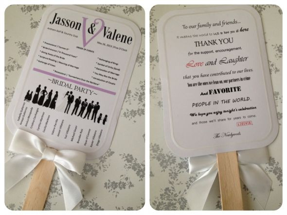Best ideas about DIY Wedding Program Fan Templates . Save or Pin My DIY bridal party silhouette program paddle fans Now.