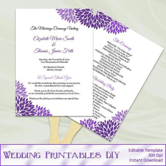 Best ideas about DIY Wedding Program Fan Templates . Save or Pin Wedding Program Fan Template Diy Purple by Now.