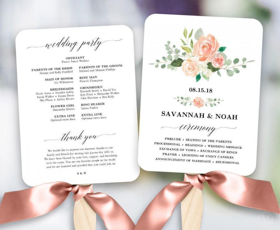 Best ideas about DIY Wedding Program Fan Templates . Save or Pin Peach Blush Floral Wedding Program Fan Template Printable Now.