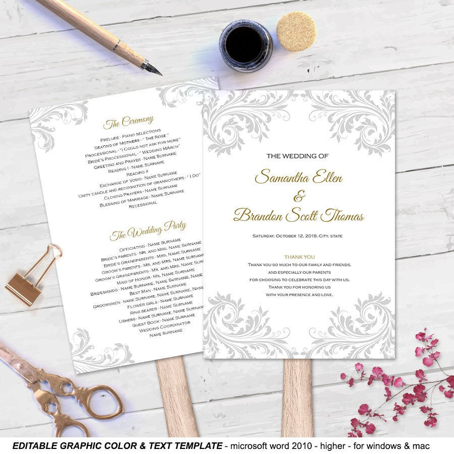 Best ideas about DIY Wedding Program Templates . Save or Pin DIY wedding fan program Fan wedding program templates Now.