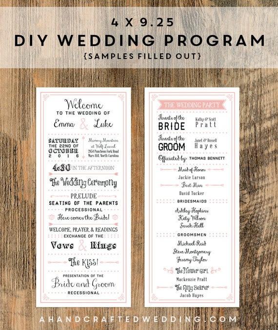 Best ideas about DIY Wedding Program Templates . Save or Pin Items similar to DIY Blush Pink Wedding Program Templates Now.