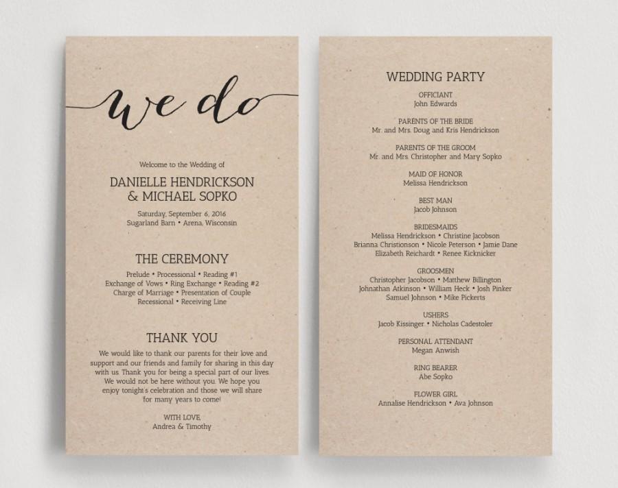 Best ideas about DIY Wedding Program Templates . Save or Pin Wedding Programs Printable Template Printable Program Now.