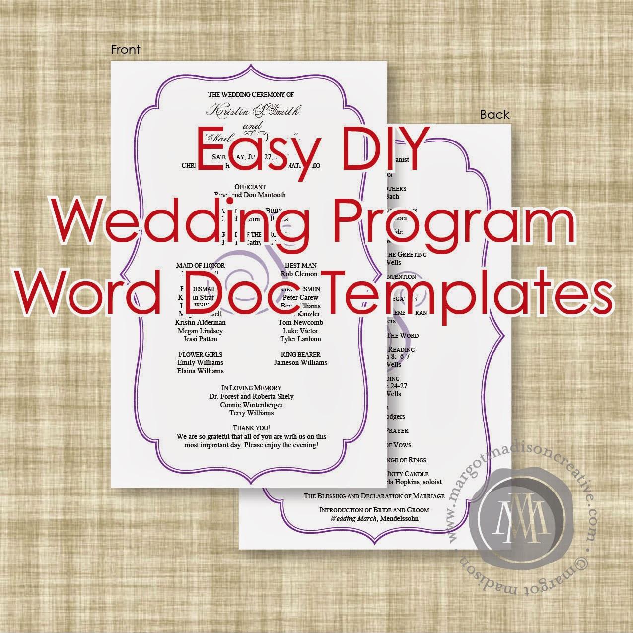 Best ideas about DIY Wedding Program Templates . Save or Pin MargotMadison DIY Wedding Program Word Doc Templates now Now.