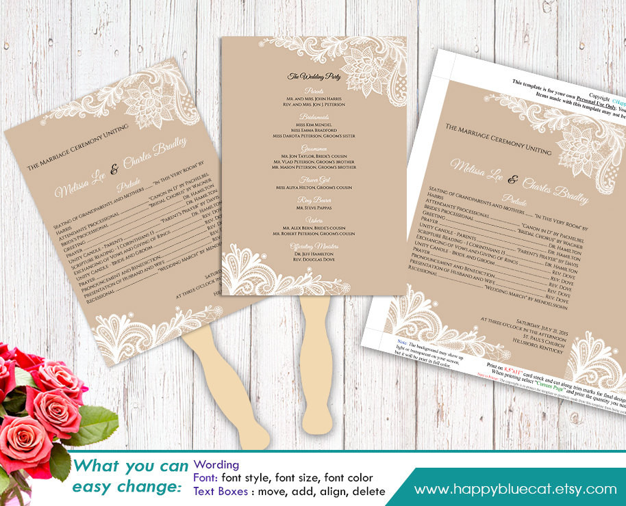 Best ideas about DIY Wedding Program Templates . Save or Pin DiY Printable Wedding Fan Program Template Instant Download Now.