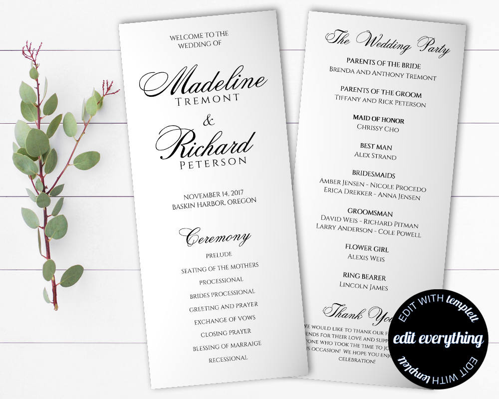 Best ideas about DIY Wedding Program Templates . Save or Pin Tea Length Wedding Program Template Diy Wedding program Now.