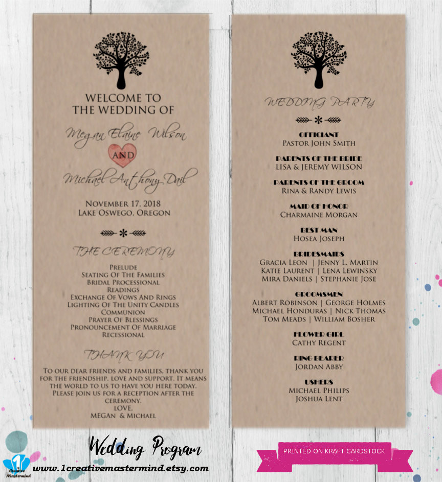 Best ideas about DIY Wedding Program Templates . Save or Pin DIY Rustic Wedding Program Template Printable Editable Now.