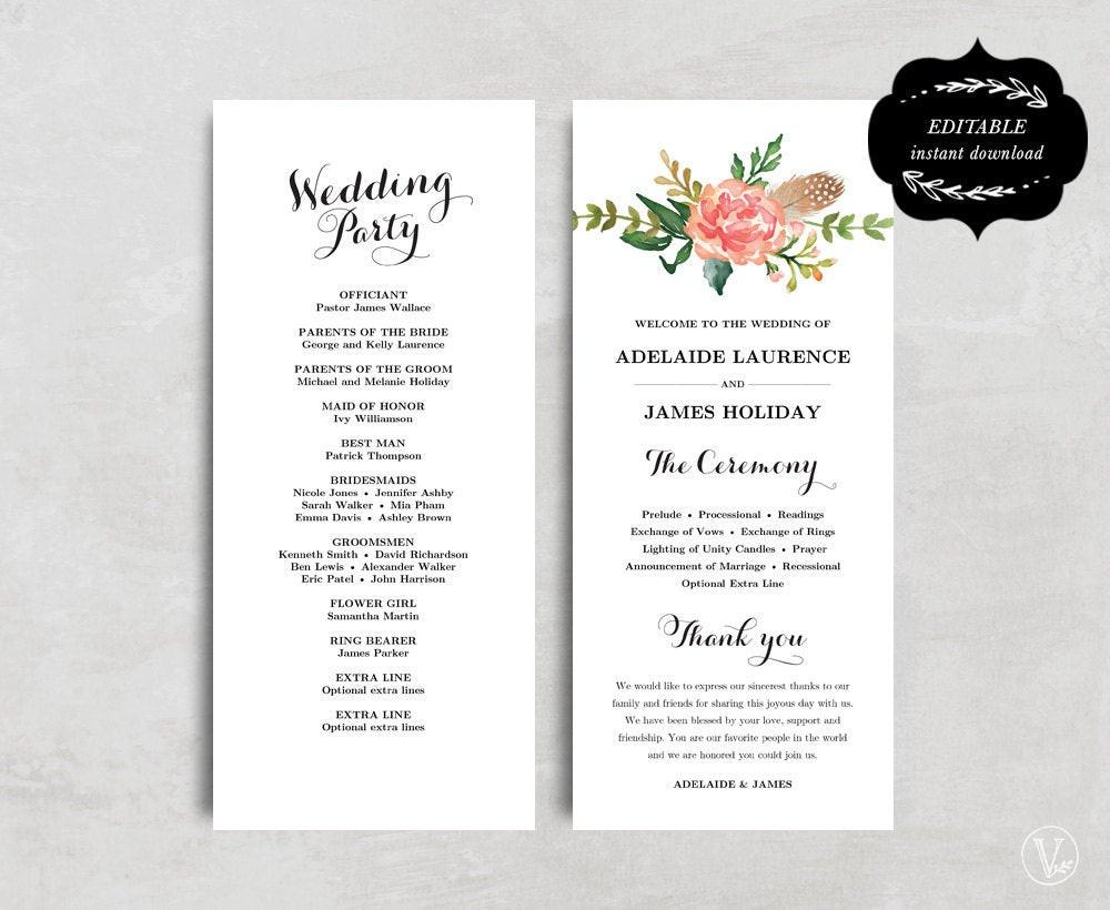 Best ideas about DIY Wedding Program Templates . Save or Pin Printable Wedding Program Template Floral Wedding Program Now.
