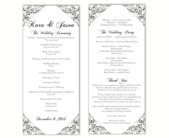 Best ideas about DIY Wedding Program Templates . Save or Pin Wedding Program Template DIY Editable Word File Instant Now.