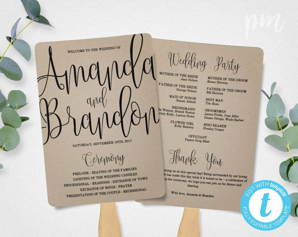 Best ideas about DIY Wedding Programs Fans . Save or Pin Wedding Program Fan Template Calligraphy Script Printable Now.