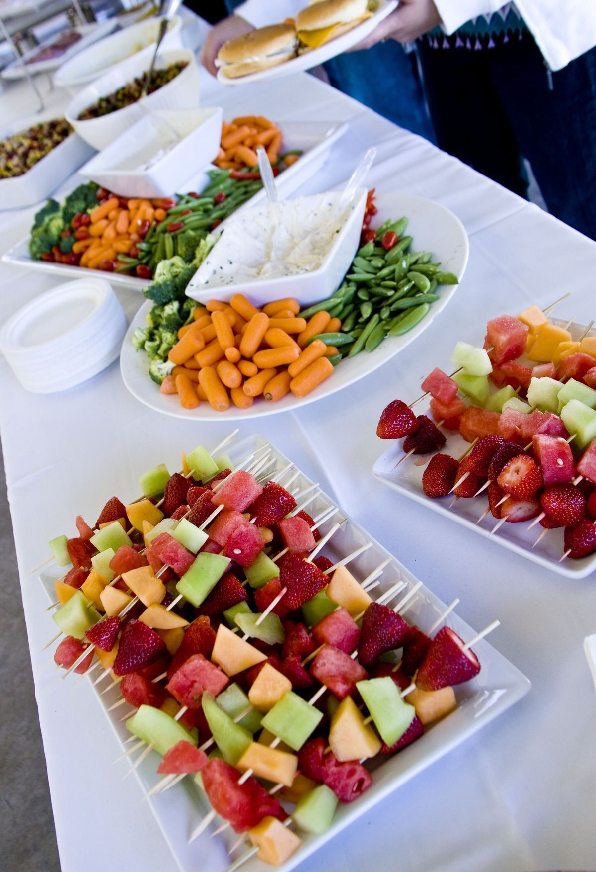 Best ideas about DIY Wedding Reception Food . Save or Pin veggie trays like this and fruit kabobs for the wedding Now.