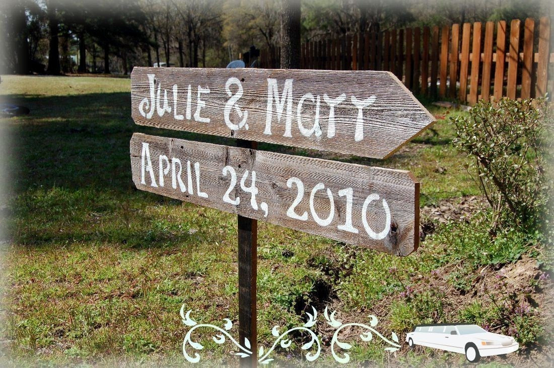 Best ideas about DIY Wedding Signage . Save or Pin DIY Wood Wedding Signs 2 Directional With1 Stake Reclaimed Now.