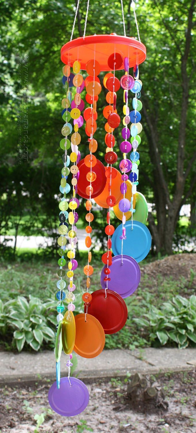 Best ideas about DIY Wind Chimes For Kids . Save or Pin Rainbow Button DIY Wind Chime Now.