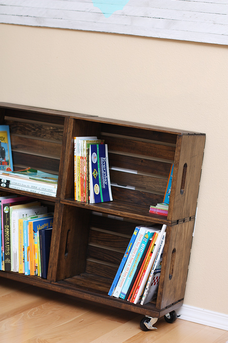 Best ideas about DIY Wood Bookshelves . Save or Pin DIY Wood Crate Bookshelf Sew Much Ado Now.
