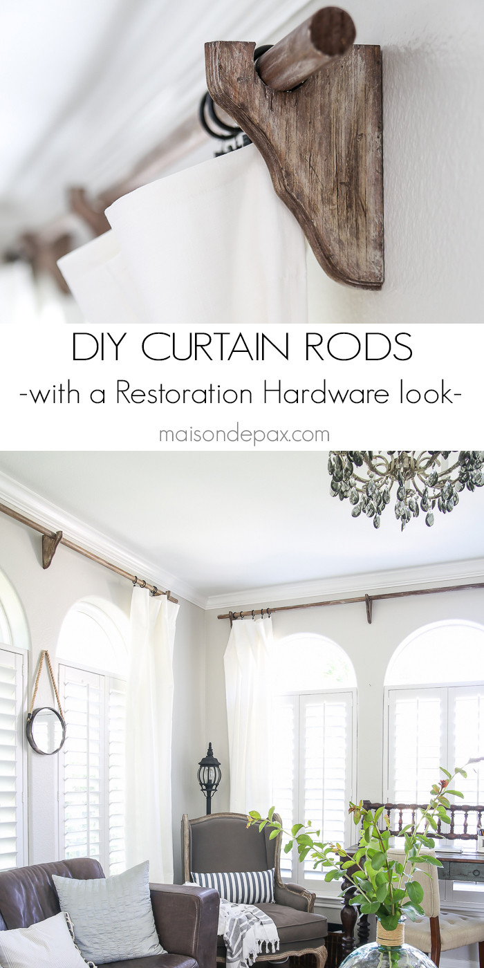 Best ideas about DIY Wood Curtain Rod . Save or Pin DIY Curtain Rods Restoration Hardware Inspired Maison Now.