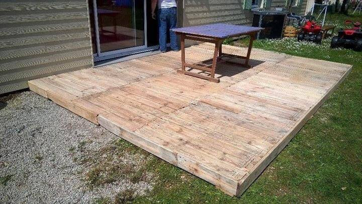 Best ideas about DIY Wood Decking . Save or Pin Pallet Deck DIY Patio Furniture Now.