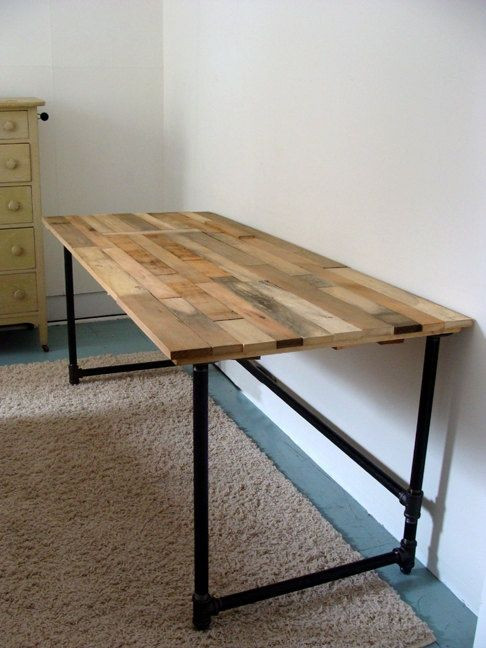 Best ideas about DIY Wood Desk . Save or Pin Salvaged Wood and Pipe Desk by riotousdesign on Etsy $650 Now.