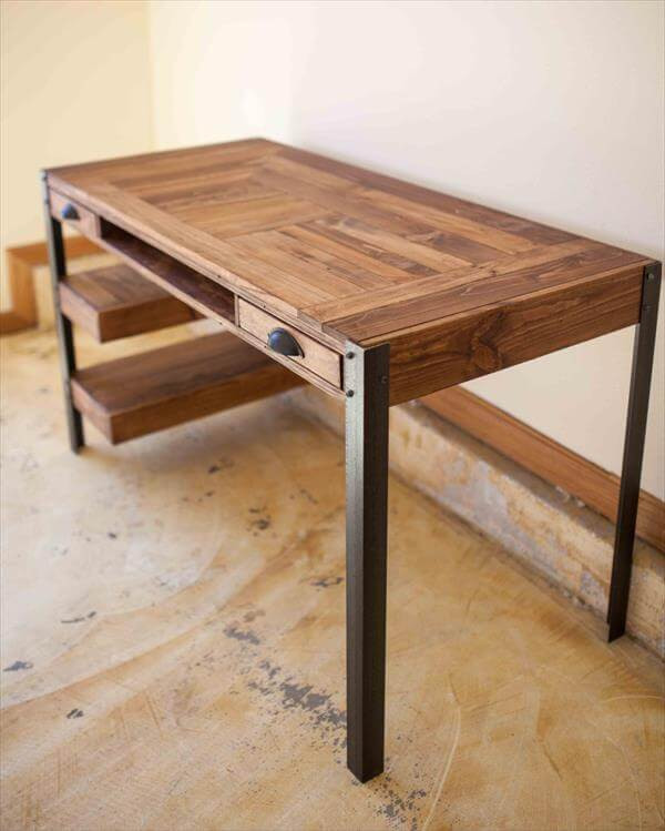 Best ideas about DIY Wood Desk . Save or Pin Pallet Desk with Drawers and shelves Now.