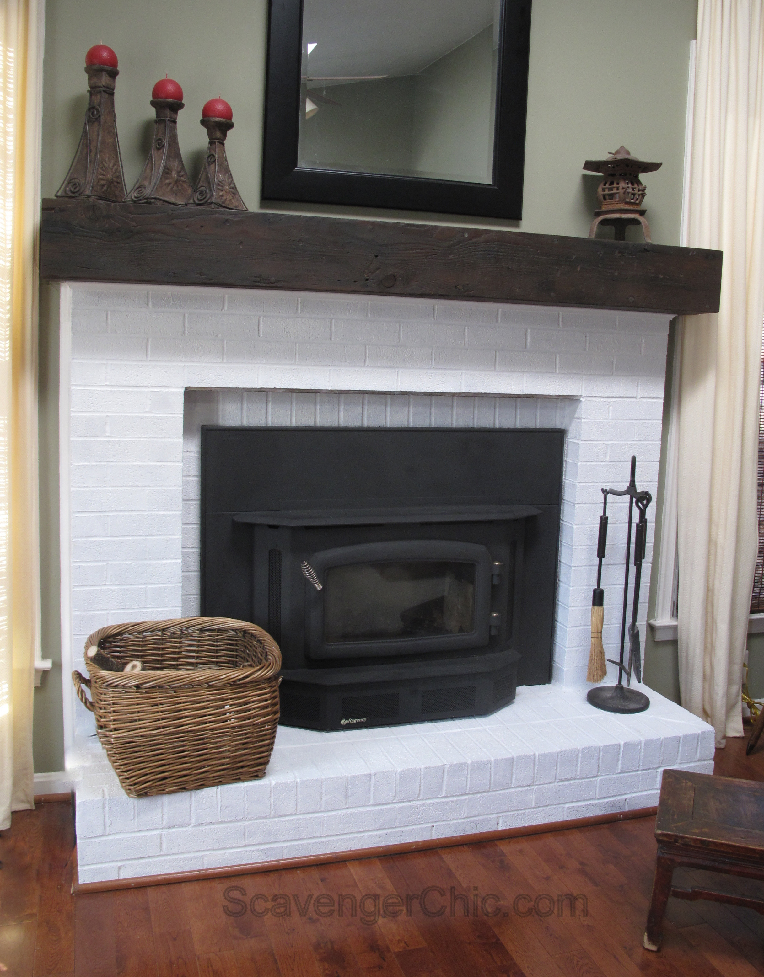 Best ideas about DIY Wood Mantel . Save or Pin Easy Faux Railroad Tie Mantel Scavenger Chic Now.