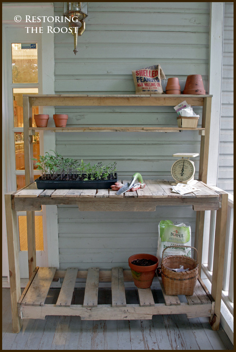 Best ideas about DIY Wood Pallets . Save or Pin Restoring the Roost DIY Wood Pallet Potting Bench Now.