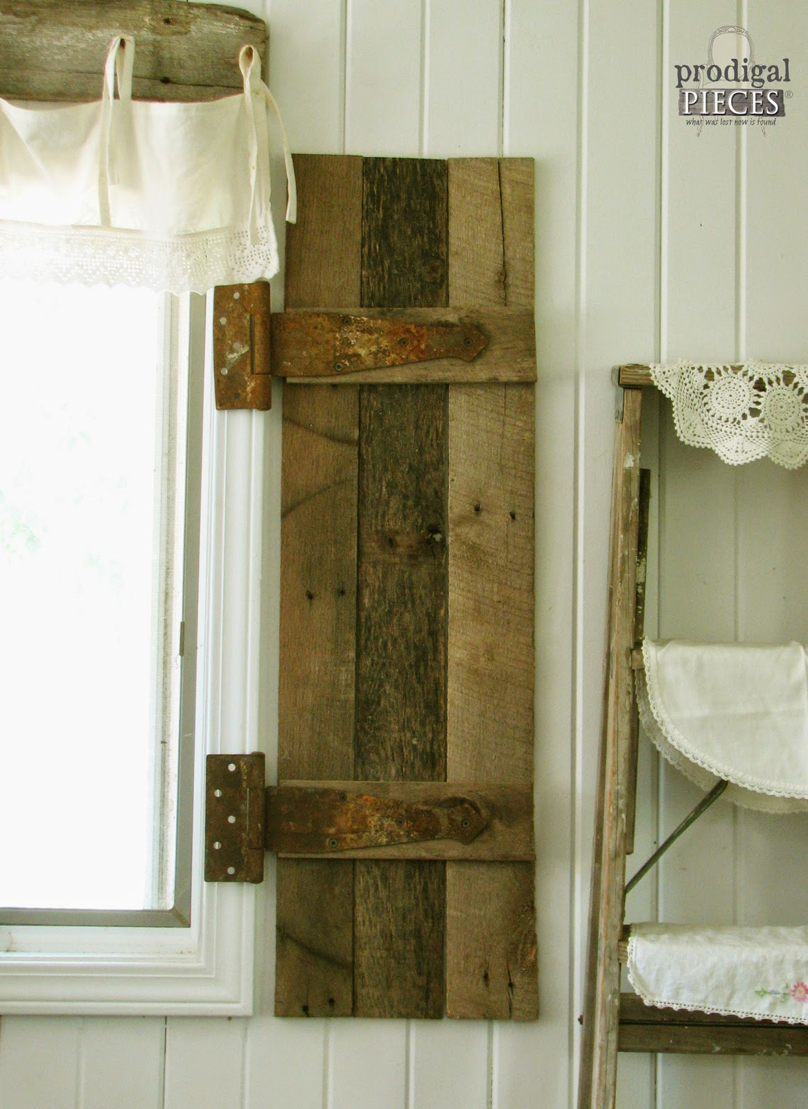 Best ideas about DIY Wood Shutters . Save or Pin DIY Barn Wood Shutters from Pallets Prodigal Pieces Now.