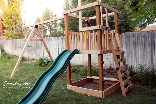 Best ideas about DIY Wood Swing Set Plans . Save or Pin Everyday Art DIY Wooden Swing Set Now.