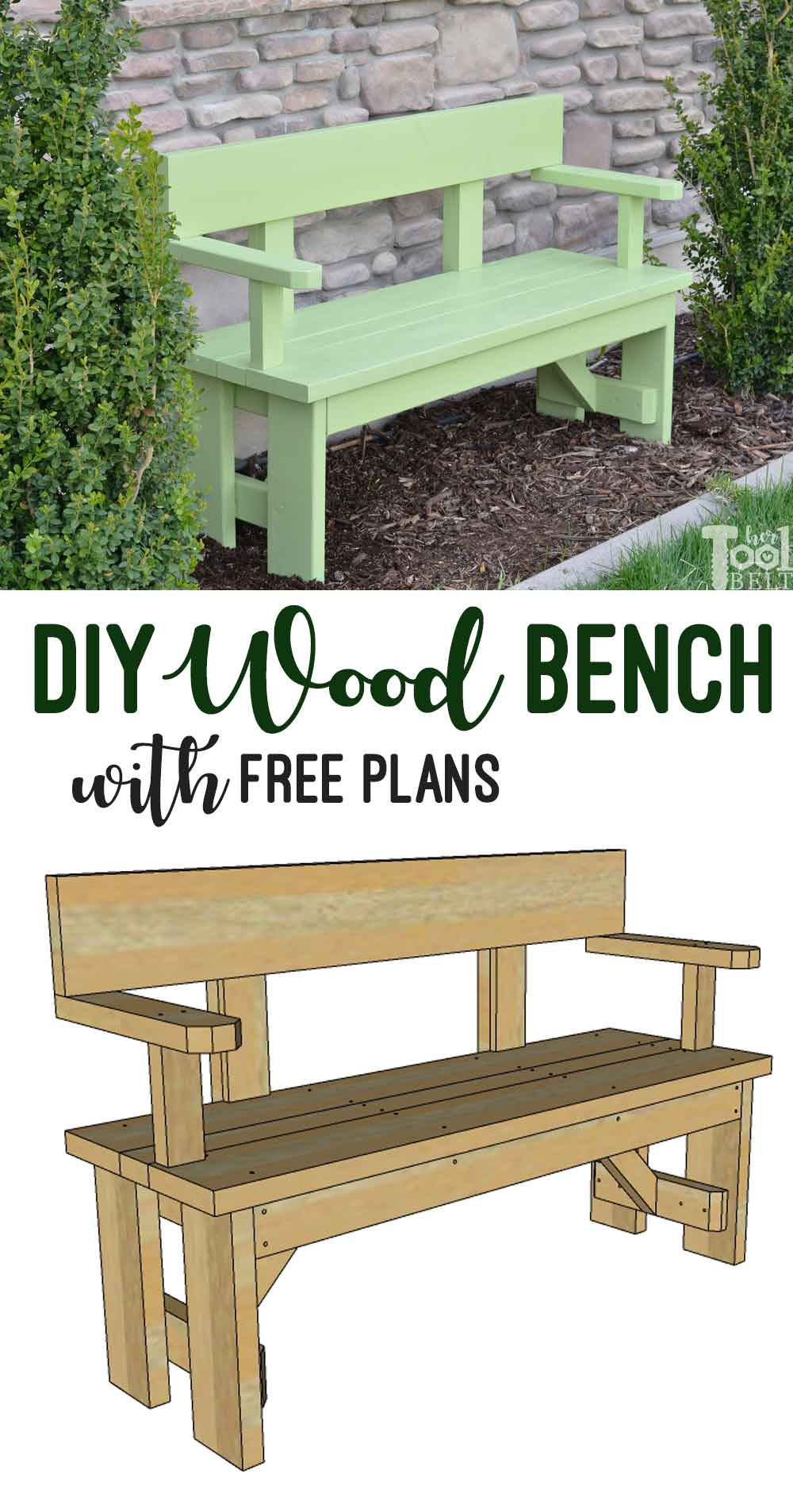 Best ideas about DIY Wooden Bench . Save or Pin DIY Wood Bench with Back Plans Her Tool Belt Now.