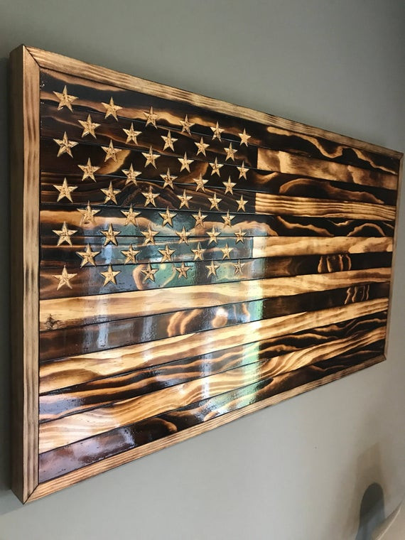 Best ideas about DIY Wooden Flag . Save or Pin Handmade Burned Wood American Flag Now.