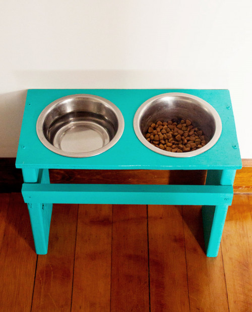 Best ideas about Dog Bowl Stand DIY . Save or Pin Colorful DIY Dog Bowl Stand Shelterness Now.