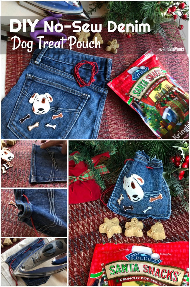 Best ideas about Dog Treat Pouch DIY . Save or Pin DIY No Sew Denim Dog Treat Pouch BlueBuffalo Golden Woofs Now.