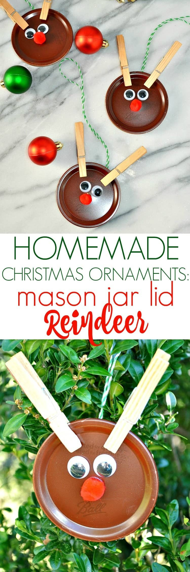 Best ideas about Easy Christmas Craft Gift . Save or Pin Homemade Christmas Ornaments Mason Jar Lid Reindeer The Now.