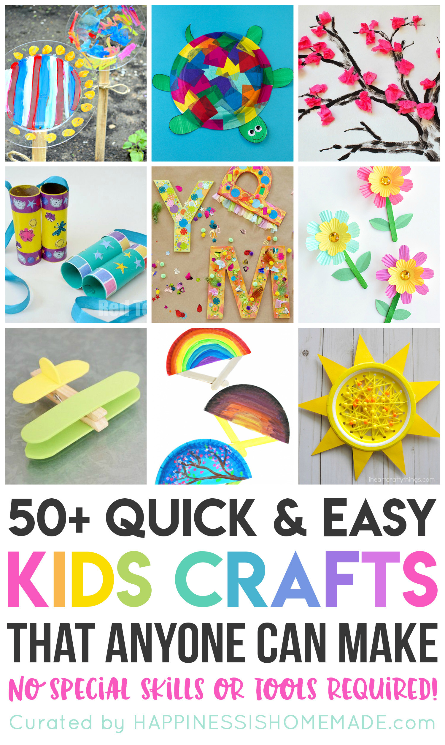 Best ideas about Easy Craft Ideas For Kids To Make At Home . Save or Pin 50 Quick & Easy Kids Crafts that ANYONE Can Make Now.