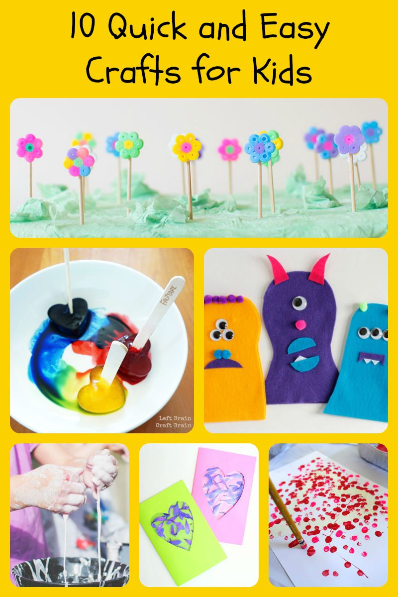 Best ideas about Easy Kids Project . Save or Pin 10 Quick and Easy Crafts for Kids 5 Minutes for Mom Now.