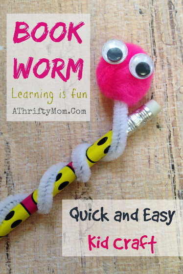 Best ideas about Easy Kids Project . Save or Pin Book Worm Quick and easy kid craft Kids Craft A Now.