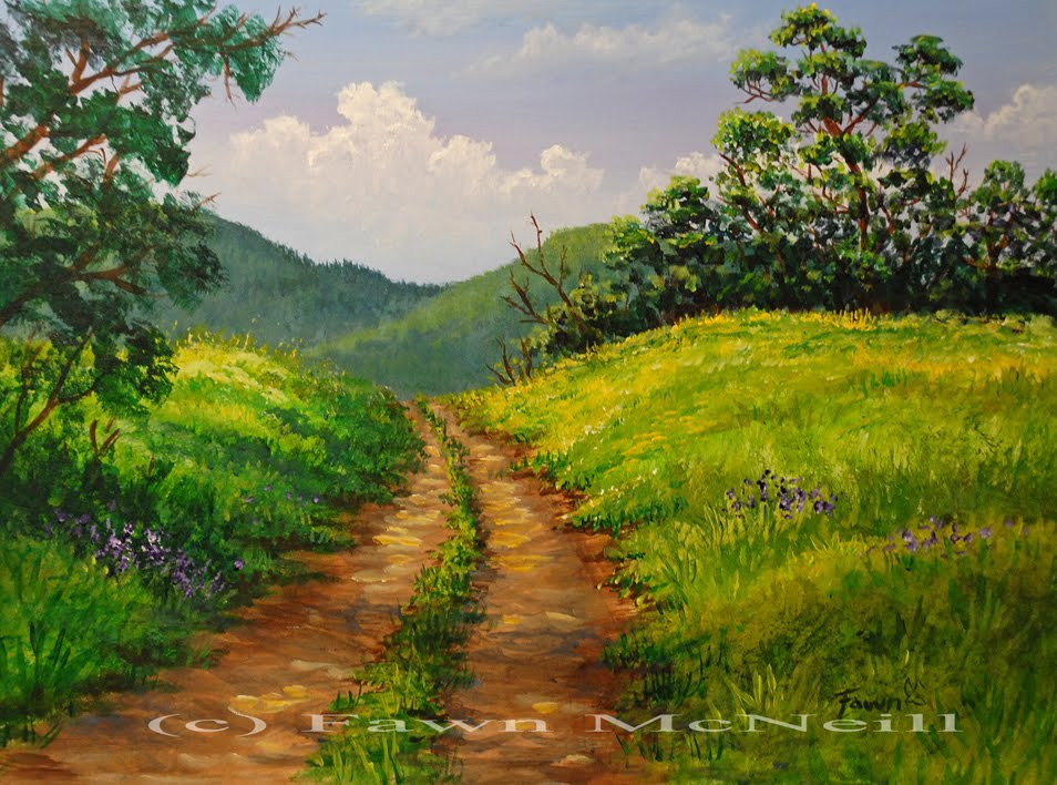Best ideas about Easy Landscape Paintings . Save or Pin Fawn s Paintings Little Lane mountain landscape Now.