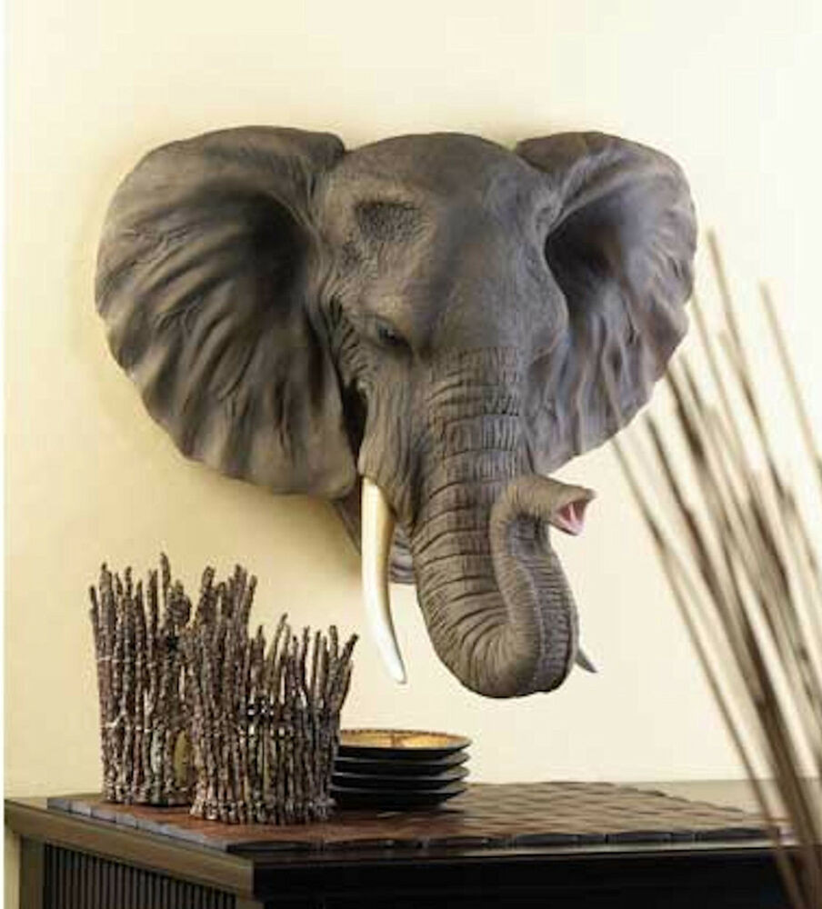 Best ideas about Elephant Wall Art . Save or Pin LARGE HANGING AFRICAN ELEPHANT HEAD BUST Statue Sculpture Now.
