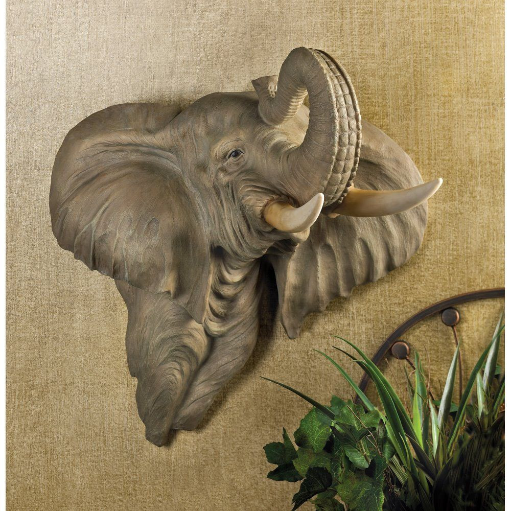 Best ideas about Elephant Wall Art . Save or Pin Elephant Head Animal African Plaque Figurine Hanging Now.