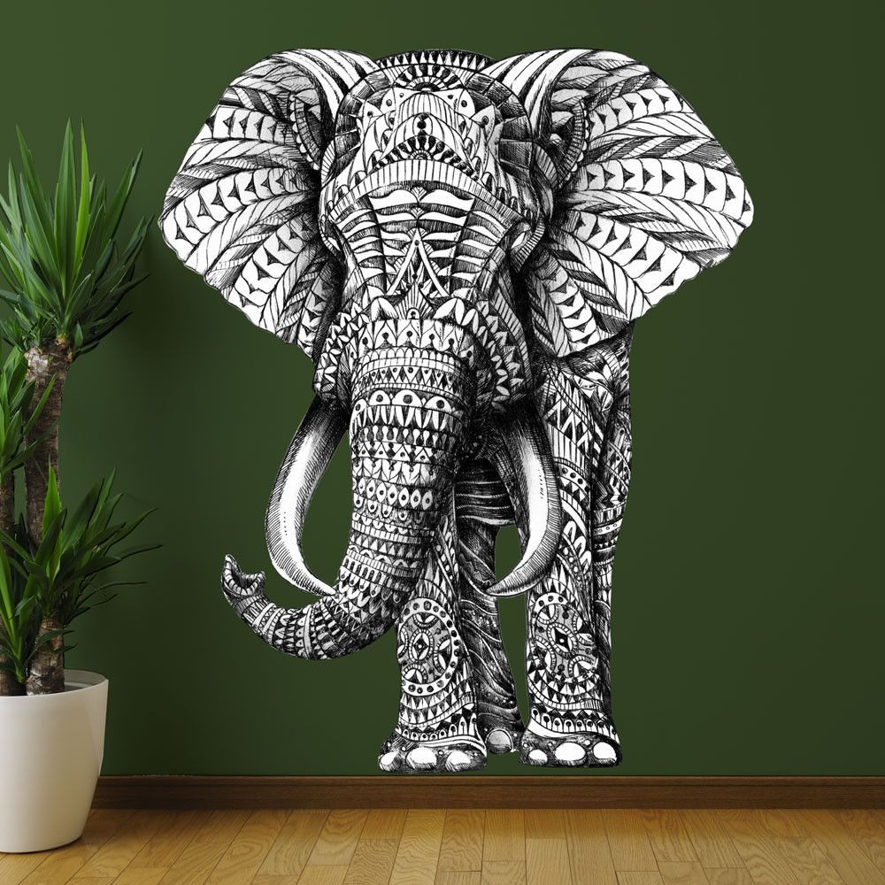 Best ideas about Elephant Wall Art . Save or Pin Elephant Wall Sticker Decal – Ornate Jungle Animal Art by Now.