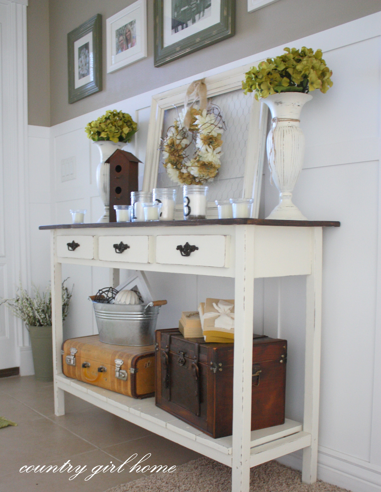 Best ideas about Entrance Table Ideas . Save or Pin COUNTRY GIRL HOME added onto my DIY entry table Now.