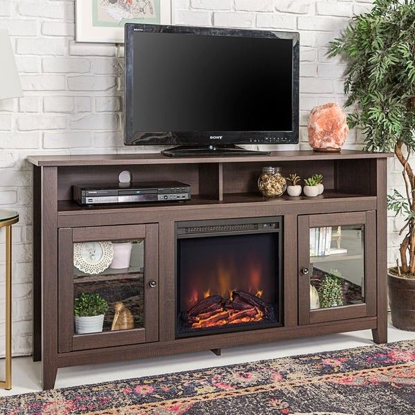 Best ideas about Espresso Fireplace Tv Stand . Save or Pin 58 inch Espresso Wood Highboy Fireplace TV Stand Free Now.