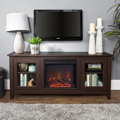 """Best ideas about Espresso Fireplace Tv Stand . Save or Pin Espresso 58""""Fireplace TV Stand & Console Now."""