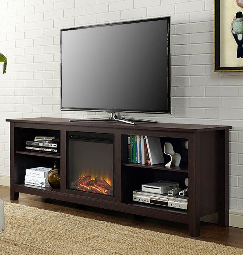"""Best ideas about Espresso Fireplace Tv Stand . Save or Pin 70"""" Fireplace TV Stand in Espresso Walker Edison W70FP18ES Now."""