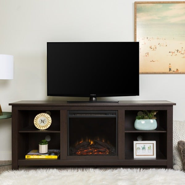 """Best ideas about Espresso Fireplace Tv Stand . Save or Pin Shop 58"""" Fireplace TV Stand Console Espresso 58 x 16 x Now."""