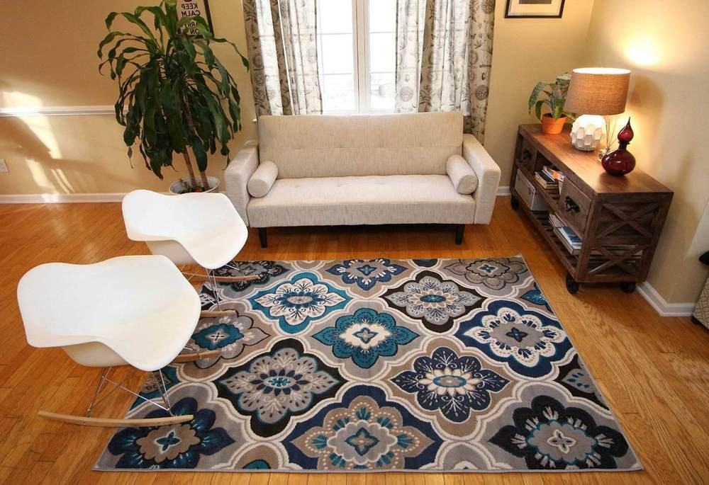 Best ideas about Family Room Area Rugs . Save or Pin Rugs Area Rug Carpet Floor Modern Blue Living Room Now.