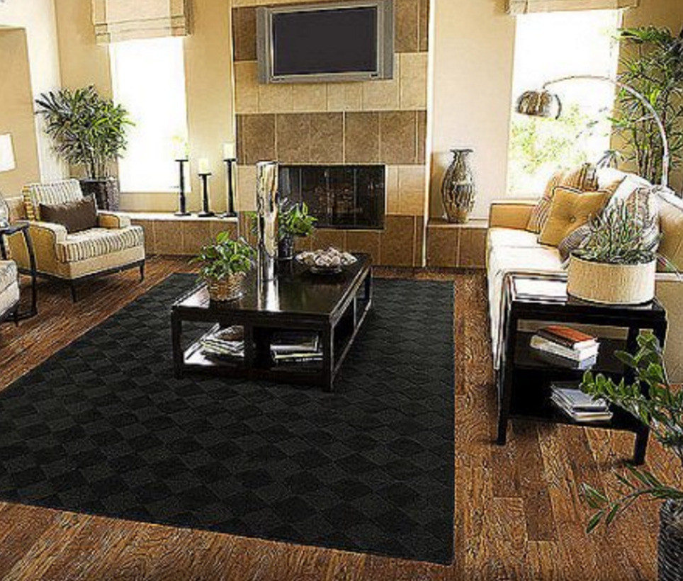 Best ideas about Family Room Area Rugs . Save or Pin Solid Black Area Rug Carpet 5 x 7 Size Rugs Floor Decor Now.