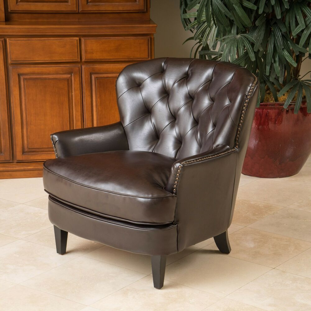 Best ideas about Family Room Chairs . Save or Pin Living Room Furniture Brown Tufted Leather Club Chair w Now.